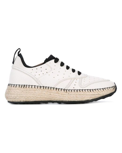 Tod's White 'running Raffia' Sneakers