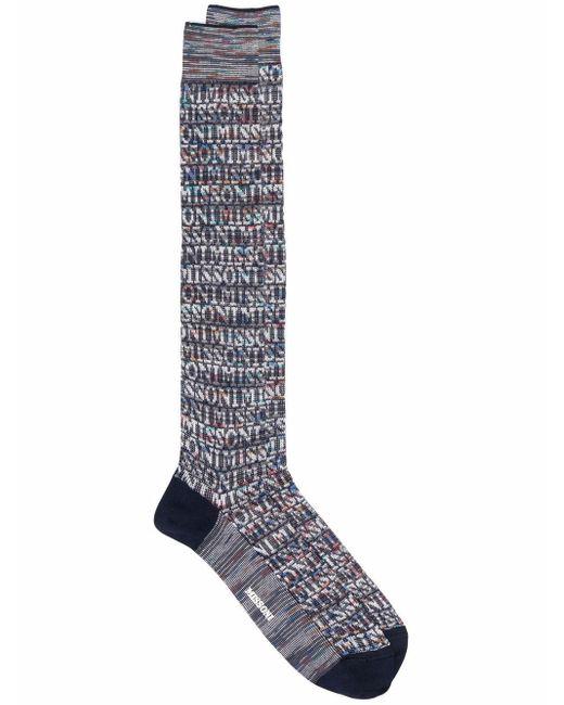 Missoni Blue Crochet-knit Socks for men