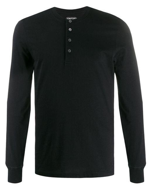 メンズ Tom Ford ボタン ロングtシャツ Black