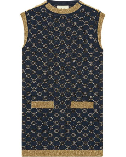 Gucci グッチインターロッキングg ラメ ウール ドレス Blue
