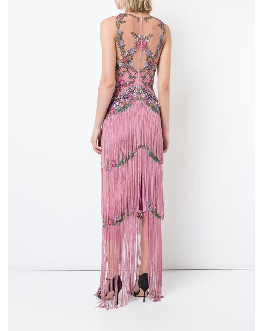 Lyst - Marchesa Notte Beaded Fringe Evening Gown in Pink