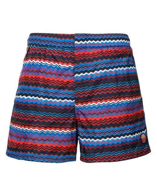 Missoni - Blue Striped Swimming Trunks for Men - Lyst