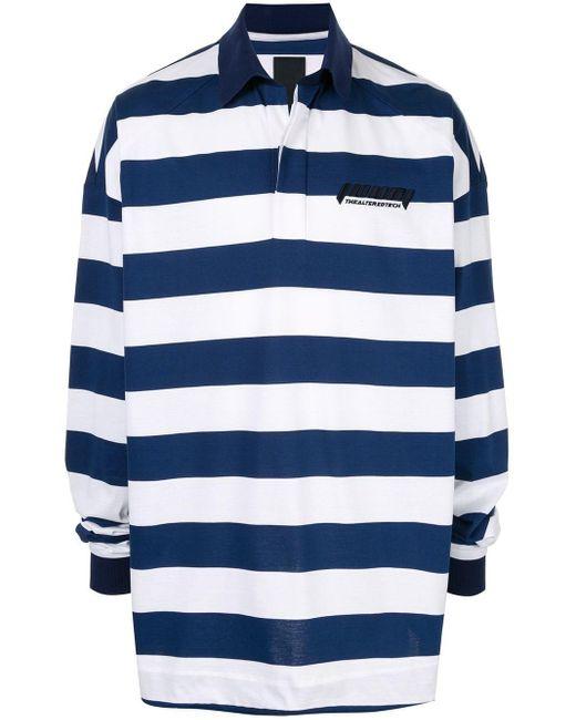 メンズ Juun.J ストライプ ポロシャツ Blue