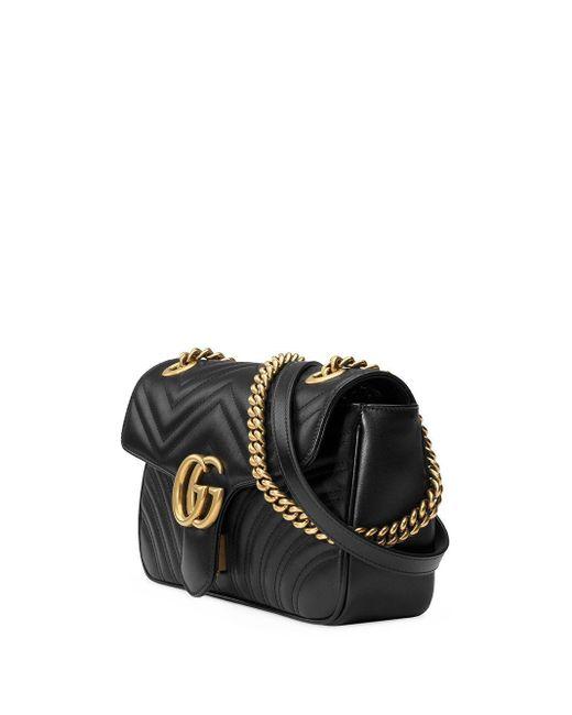 Gucci Women's Black Gg Marmont Medium Leather Shoulder Bag