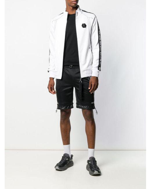Short à bandes logos Philipp Plein pour homme en coloris Black