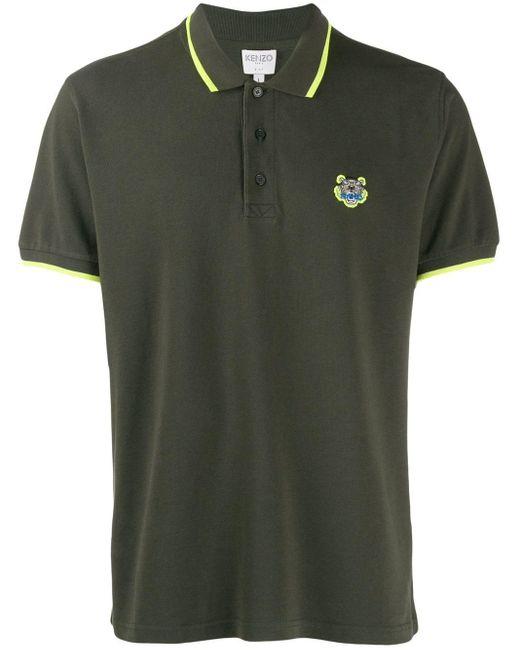 メンズ KENZO ロゴ ポロシャツ Green