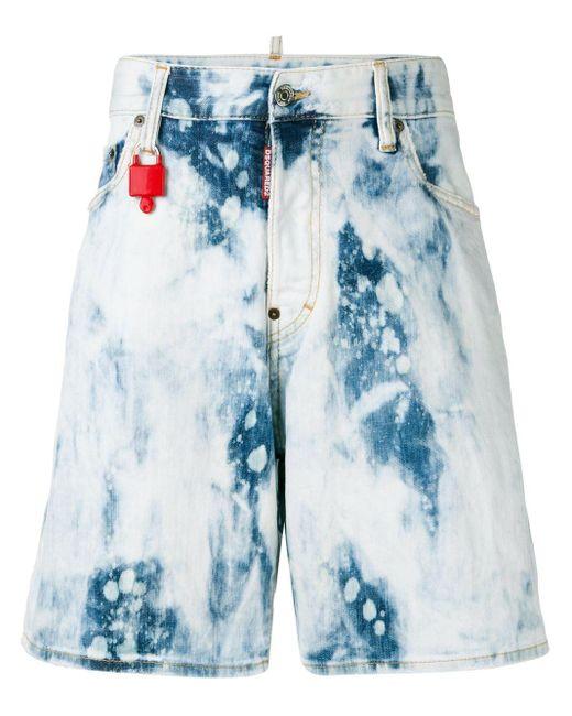 Shorts vaqueros con efecto descolorido DSquared² de hombre de color Blue