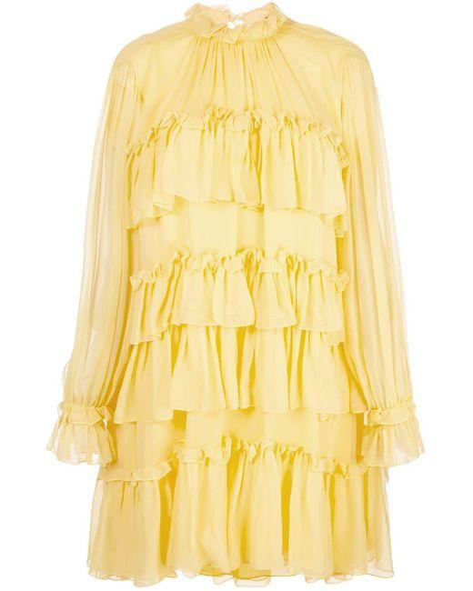 Adam Lippes ラッフル ドレス Yellow