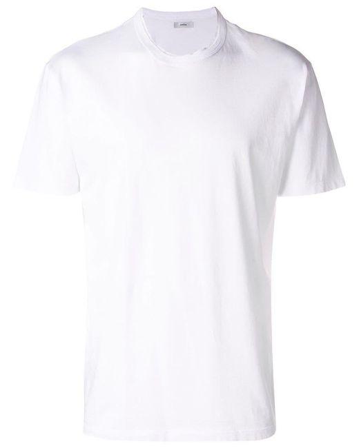 Mauro Grifoni - White Raw Round Neckline T-shirt for Men - Lyst