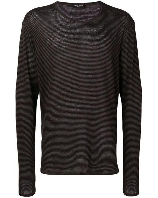 メンズ Roberto Collina ストライプ ロングtシャツ Black