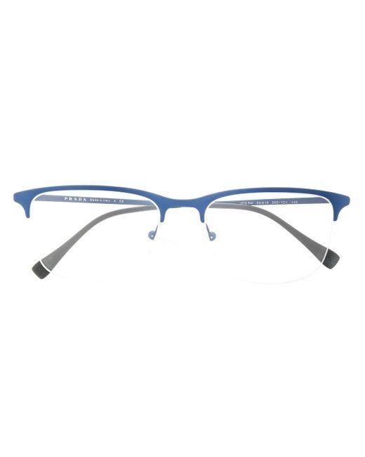 メンズ Prada アンギュラー眼鏡フレーム Blue
