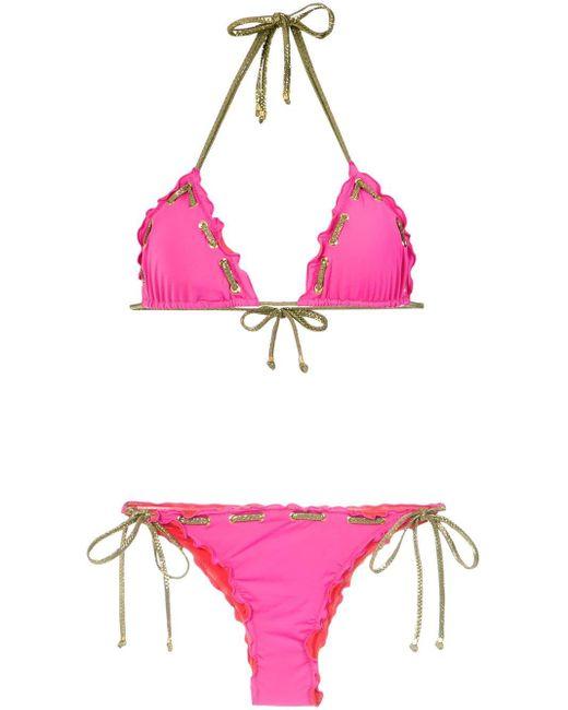 Bikini con detalles de costuras Amir Slama de color Pink