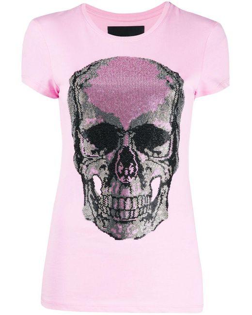 Camiseta con logo de calavera en strass Philipp Plein de color Pink