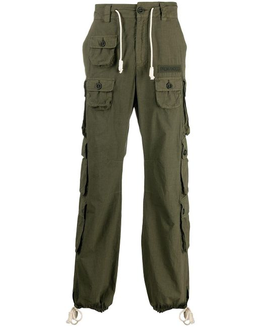 Palm Angels Green Cotton Cargo Trousers for men