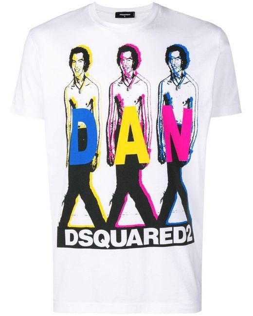 メンズ DSquared² Dan Print T-shirt White