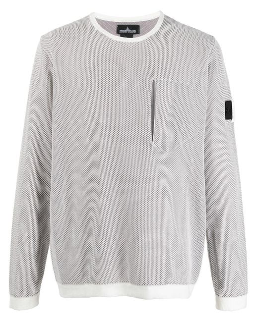 Stone Island Shadow Project White Mesh-overlay Logo Jumper for men