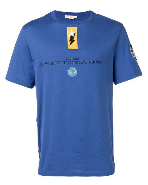 メンズ Golden Goose Deluxe Brand リバーシブル ロゴ Tシャツ Blue