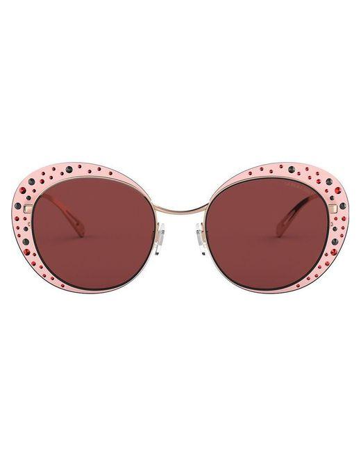 27d344bb73 Lyst - Gafas de sol con apliques de cristal Giorgio Armani de color Rosa