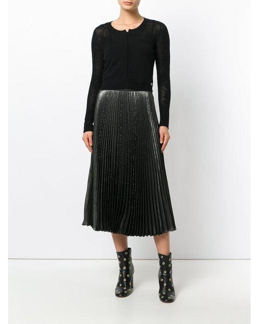 Twin set Sheer Cropped Cardigan in Black | Lyst
