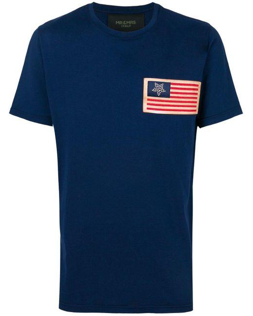 メンズ Mr & Mrs Italy パッチtシャツ Blue