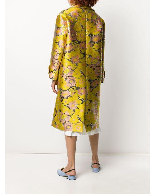 Двубортное Жаккардовое Пальто С Цветочным Узором MSGM, цвет: Yellow