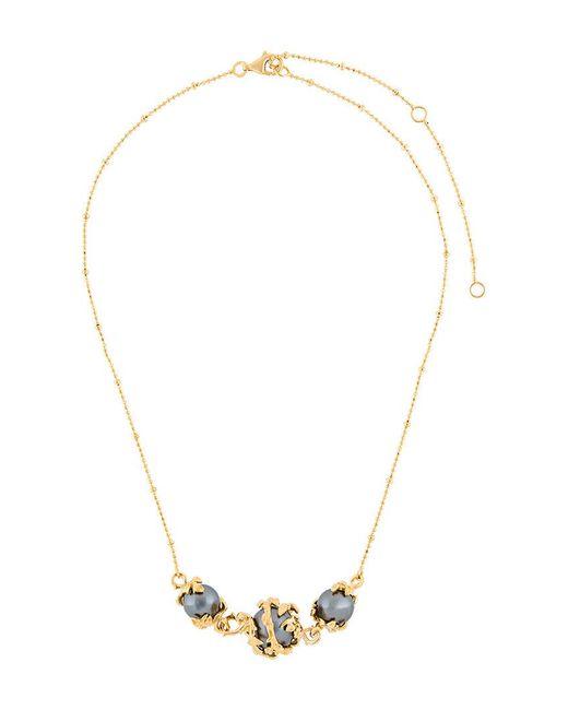 Kasun - Metallic Three Pearls Necklace - Lyst