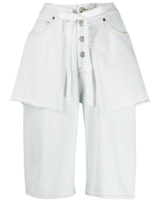 MM6 by Maison Martin Margiela White Layered Effect Denim Shorts