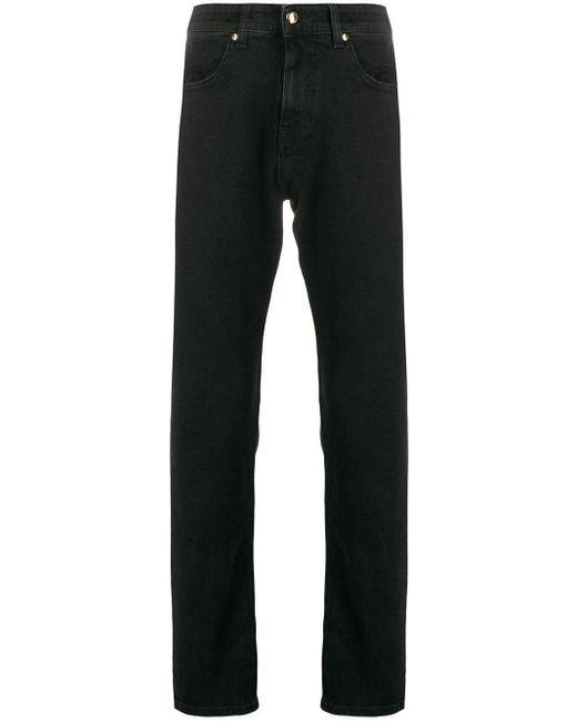 メンズ Versace Jeans ロゴ ストレートジーンズ Black