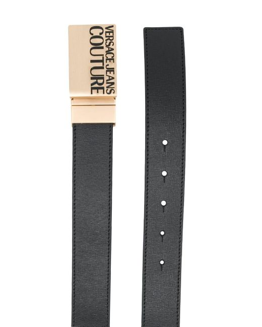 メンズ Versace Jeans ロゴ バックル ベルト Black