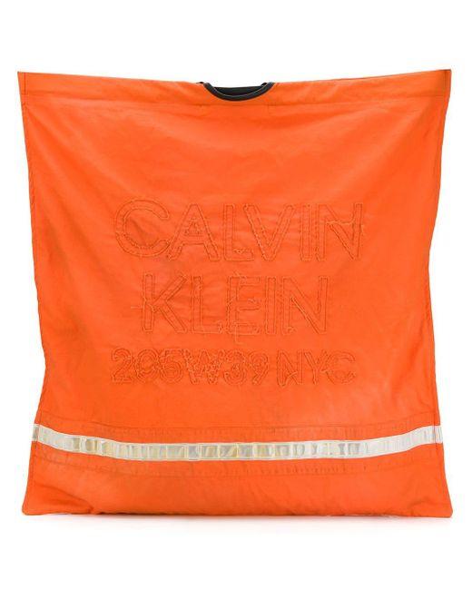 CALVIN KLEIN 205W39NYC ロゴエンブロイダリーハンドバッグ Orange