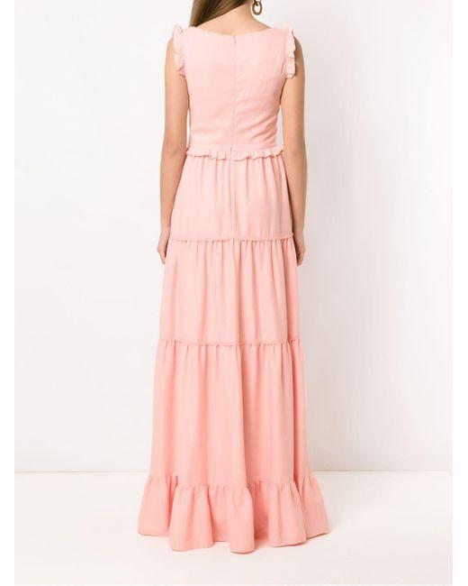 Martha Medeiros ラッフル ロングドレス Pink