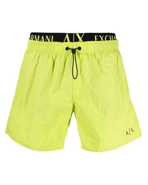 メンズ Armani Exchange ロゴ トランクス水着 Yellow