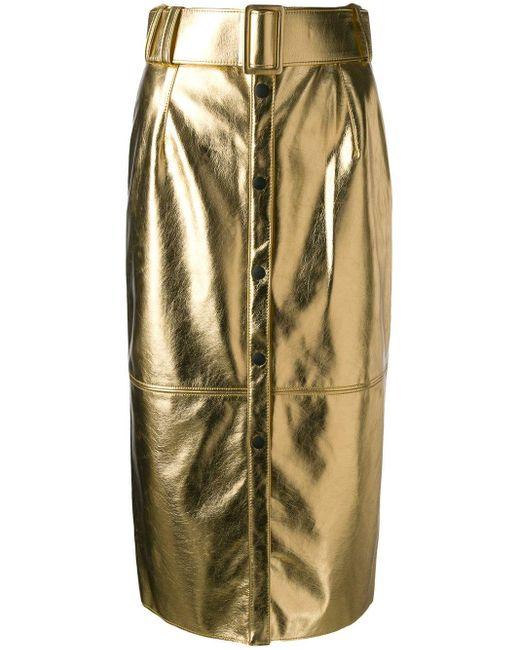 MSGM ハイウエスト スカート Metallic