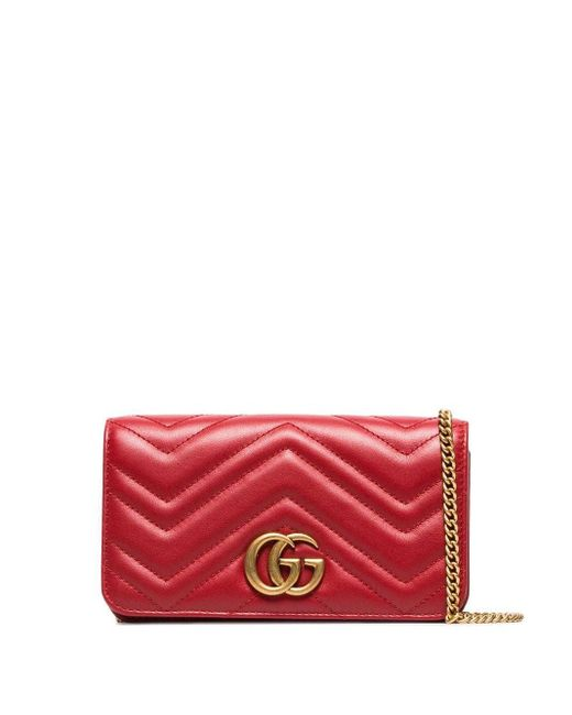 Gucci GGマーモント チェーンウォレット Red