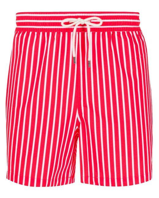 メンズ Polo Ralph Lauren ストライプ トランクス水着 Red