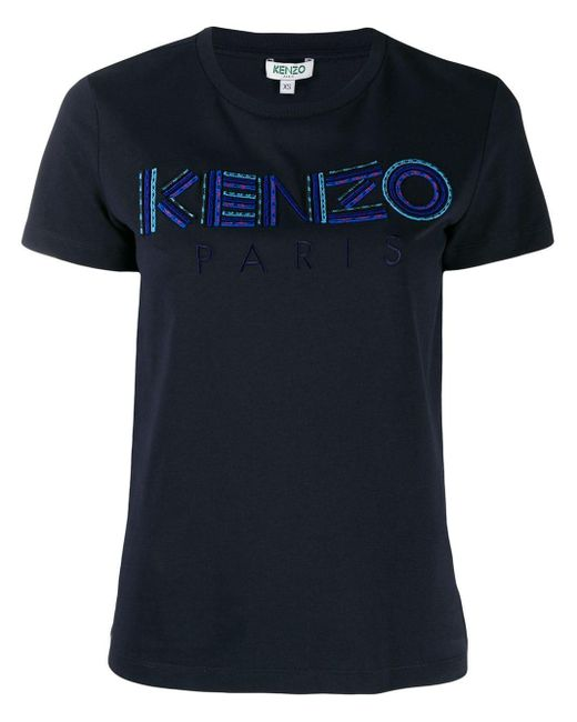 KENZO Blue Logo Embroidered T-shirt