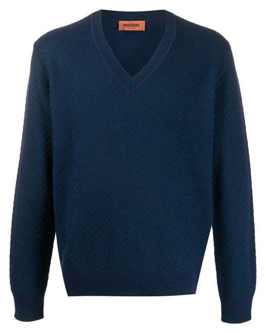 メンズ Missoni ジグザグ セーター Blue