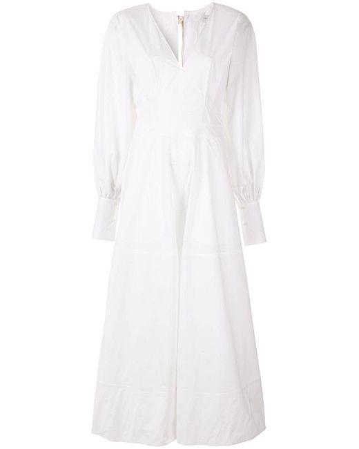 Robe Elsie à col v Lee Mathews en coloris White