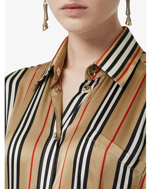 Рубашка Оверсайз В Полоску Icon Stripe Burberry, цвет: Brown