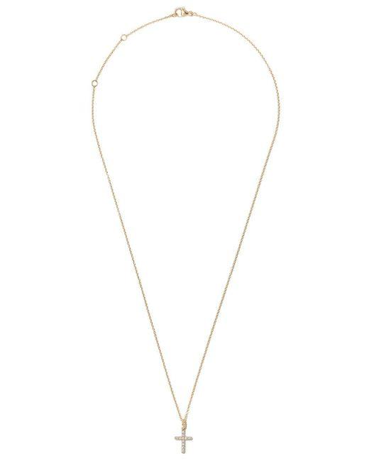 David Yurman Cable Collectibles ダイヤモンド クロス ペンダント ネックレス 18kイエローゴールド Metallic