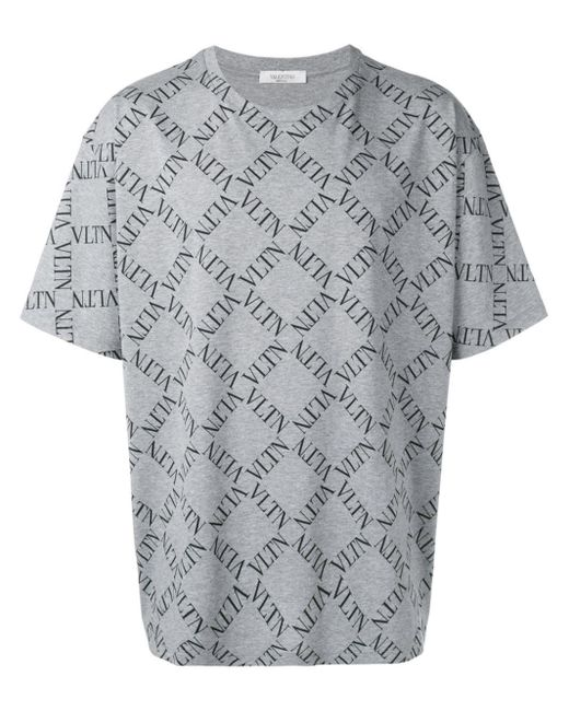 Valentino Gray Vltn Grid Logo T-shirt for men