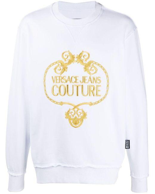 メンズ Versace Jeans ロゴ スウェットシャツ White