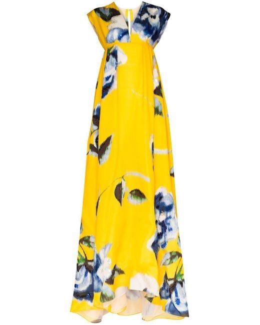 Carolina Herrera フローラル マキシドレス Yellow