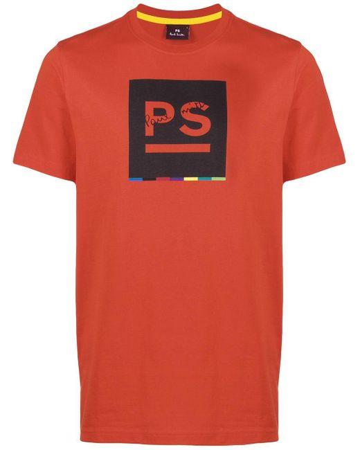メンズ PS by Paul Smith ロゴ Tシャツ Red