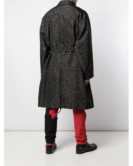 Raf Simons Mantel mit Leoparden-Print in Black für Herren