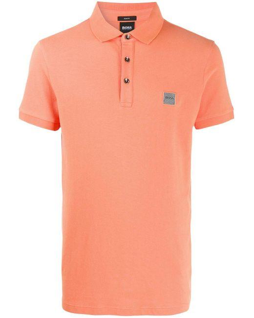 メンズ BOSS カラーブロック ポロシャツ Orange
