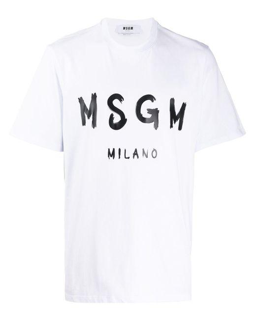 メンズ MSGM ロゴ Tシャツ White