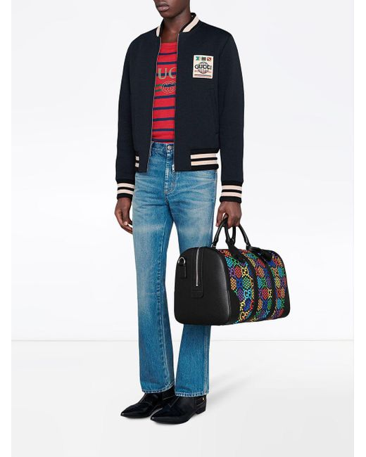 メンズ Gucci グッチジャージーウール ボンバージャケット Blue