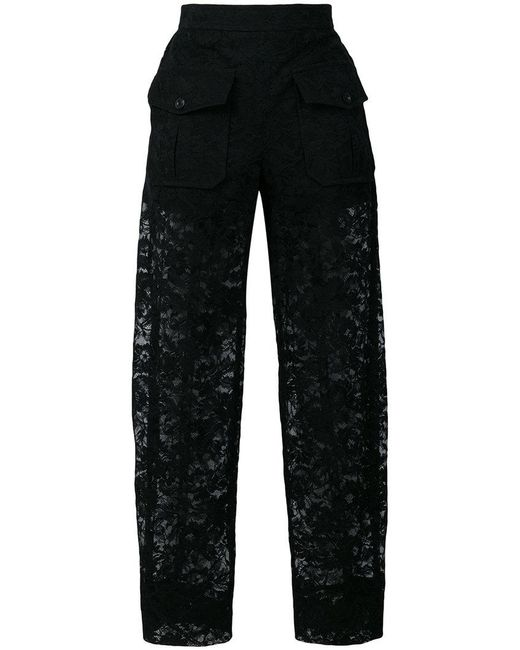 Chloé - Black Sheer Lace Trousers - Lyst