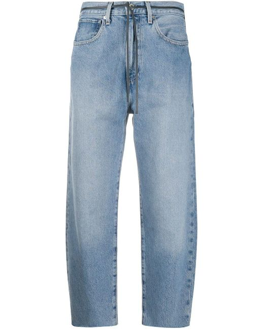 Levi's Blue Hoch geschnittene Cropped-Jeans